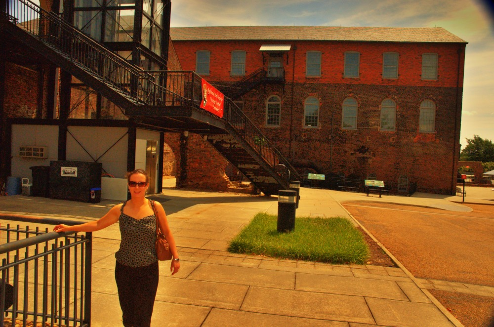 Amanda McWane in front of the Tredegar Iron Works - American Civil War Center